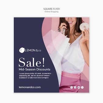 Kwadratowy szablon ulotki do sprzedaży online mody