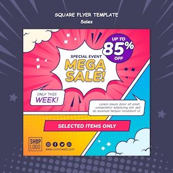 Kwadratowy szablon ulotki do sprzedaży w stylu komiksowym