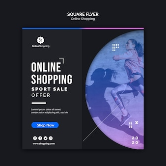 Kwadratowy szablon ulotki do zakupów online