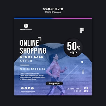 Kwadratowy szablon ulotki do zakupów w internecie