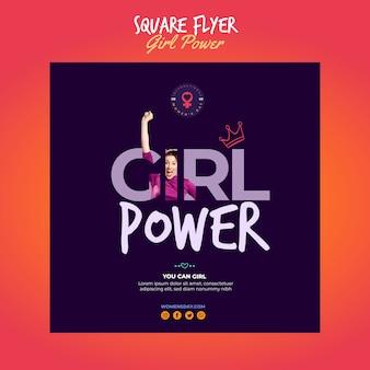 Kwadratowy szablon ulotki na dzień kobiet z mocą dziewczyny