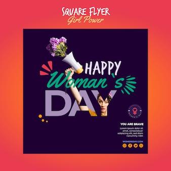 Kwadratowy szablon ulotki na dzień kobiet
