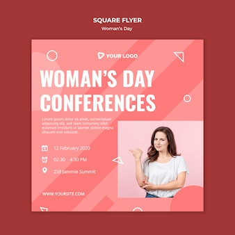 Kwadratowy szablon ulotki na dzień kobiety