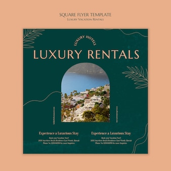 Kwadratowy szablon ulotki na luksusowe wakacje