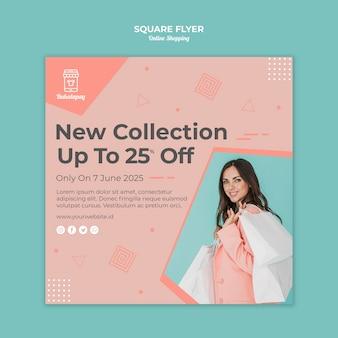 Kwadratowy szablon ulotki na zakupy online ze sprzedażą