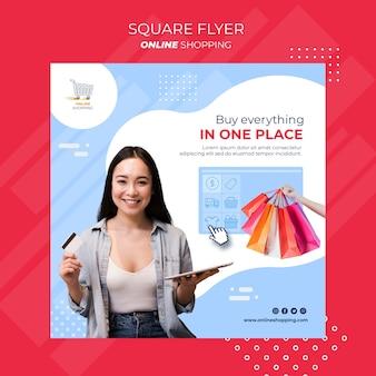 Kwadratowy szablon ulotki na zakupy online