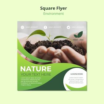 Kwadratowy szablon ulotki o naturze