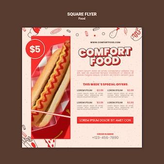 Kwadratowy szablon ulotki z wygodnymi hot dogami