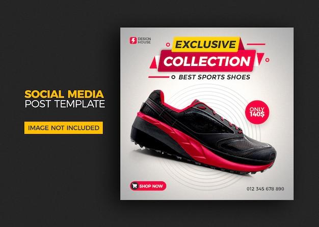 Kwadratowy szablon ze sprzedażą butów na post w mediach społecznościowych
