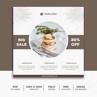 Kwadratowy sztandar jedzenie restauracja sprzedaż luksus