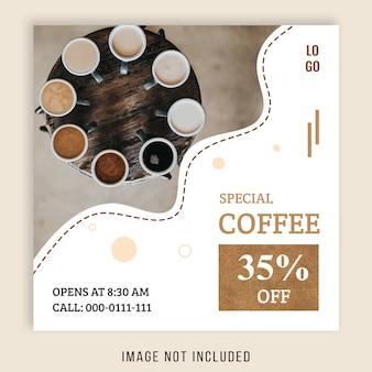 Kwadratowy sztandar sprzedaży na instagram, motyw kawiarni