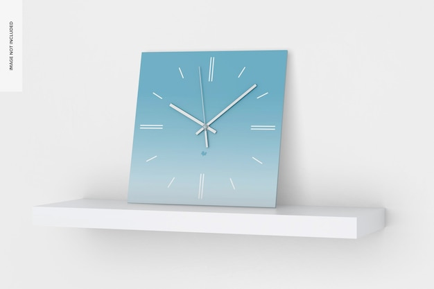 Kwadratowy zegar ścienny makieta