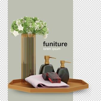 Kwiat i narzędzia łazienka renderowania 3d na białym tle