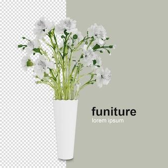 Kwiat widok czcionki w renderowaniu 3d na białym tle