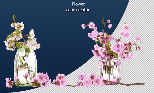 Kwiat wiśni ścieżka przycinająca na białym tle kwiat wiśni wesoły kwiat w słoiku kwiat wiśni w słoiku
