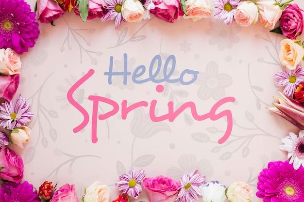 Kwiatowa ramka z komunikatem na wiosnę