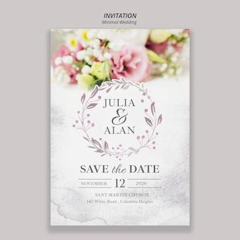 Kwiatowy minimalny szablon zaproszenia ślubne