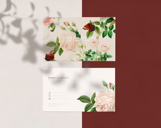 Kwiatowy projekt wizytówki