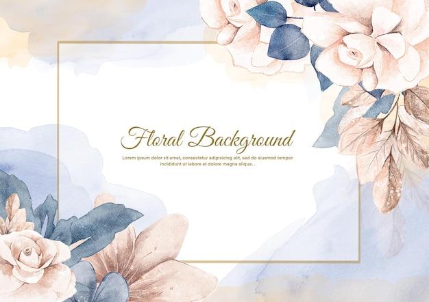 Kwiatowy tło z akwarelowym niebieskim kwiatem różowego złota