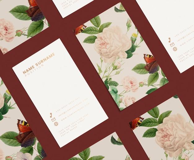 Kwiatowy wizytówki szablon zestaw makieta