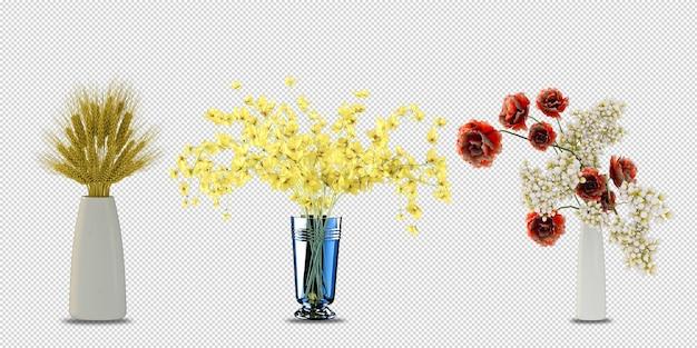Kwiaty roślin w wazonie w renderowaniu 3d na białym tle