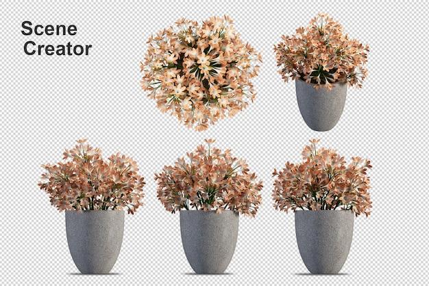 Kwiaty w wazonie w renderowaniu 3d na białym tle