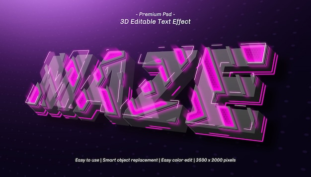 Labirynt 3d edytowalny efekt tekstowy