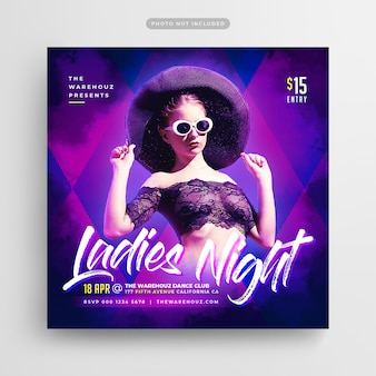 Ladies night party flyer social media post & web banner