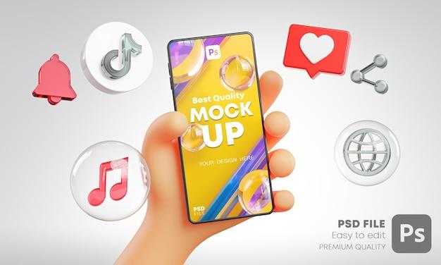 Ładna dłoń trzymająca ikony tiktok telefonu wokół makiety renderowania 3d