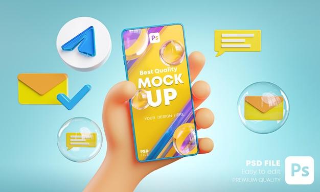 Ładna ręka trzyma telefon telegram ikony wokół makiety renderowania 3d