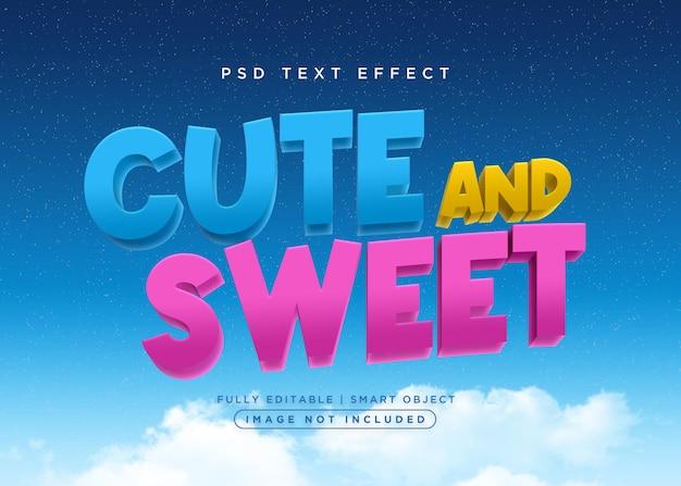 Ładny i słodki efekt tekstowy w stylu 3d
