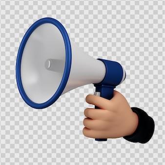 Ładny postać z kreskówki trzymając się za ręce gest megafonu renderowanie 3d na białym tle