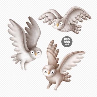 Ładny ręcznie rysowane sowa ręcznie rysowane ilustracje na białym tle