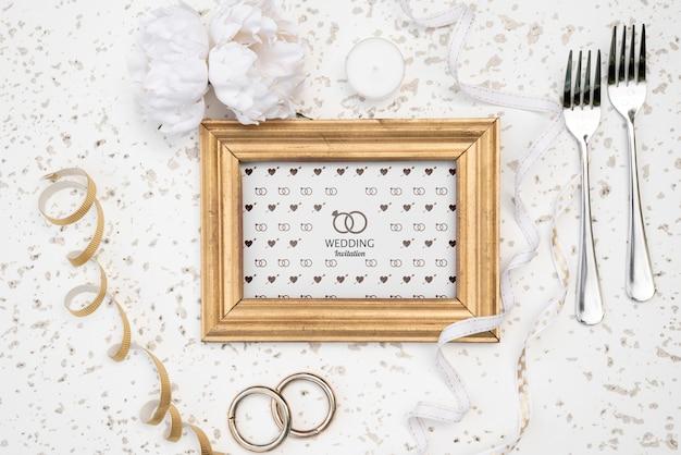 Ładny ślub zaproszenia ramki z widelcami