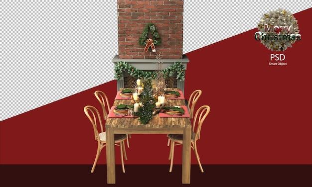 Ładny świąteczny drewniany stół i krzesła dekoracje drzewne i rustykalne przed kominkiem