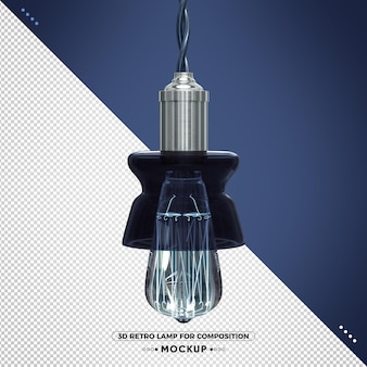 Lampa retro 3d w stylu vintage z niebieskim wykończeniem