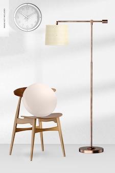 Lampa stojąca cooper z makietą zegara