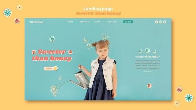 Landing page dla dzieci z kwiatami