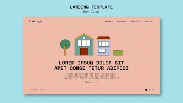 Landing page dla nowego miasta z budynkami