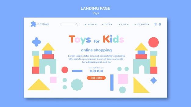 Landing page dla zakupów online zabawek dla dzieci