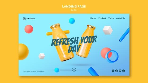 Landing page do odświeżania soku pomarańczowego w szklanych butelkach