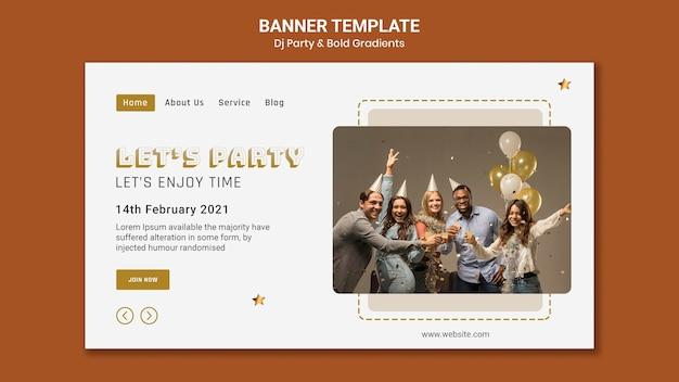 Landing page na dj party z ludźmi i balonami