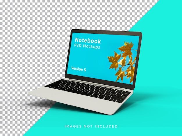Laptop makieta realistyczny widok pochylony przód na białym tle