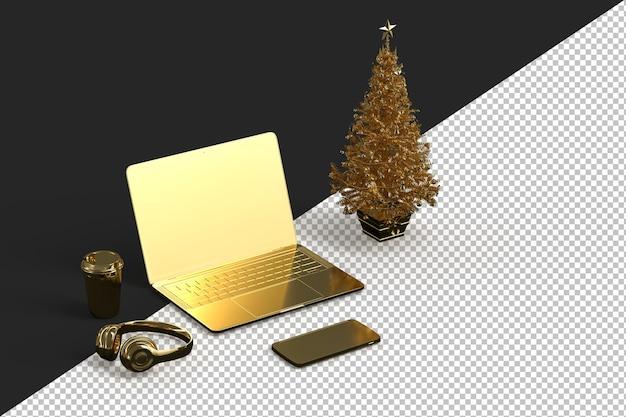 Laptop z choinką i różnymi gadżetami