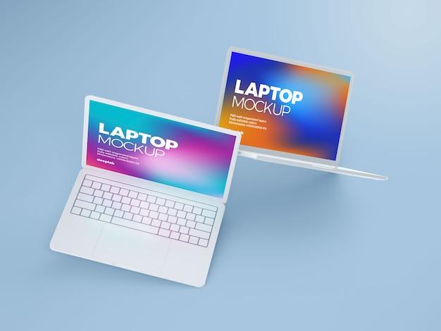 Laptop z edytowalnym makiety tła