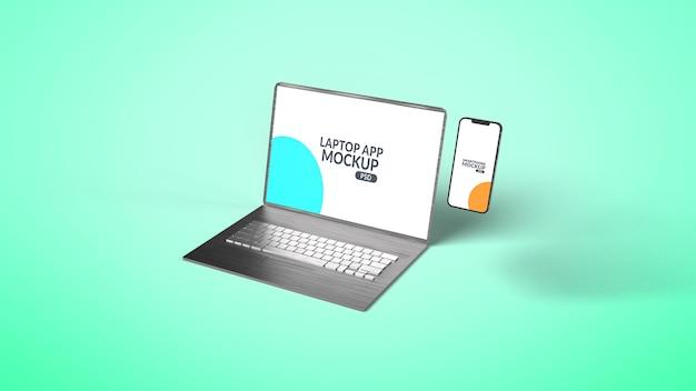 Laptop z projektem makiety smartfona