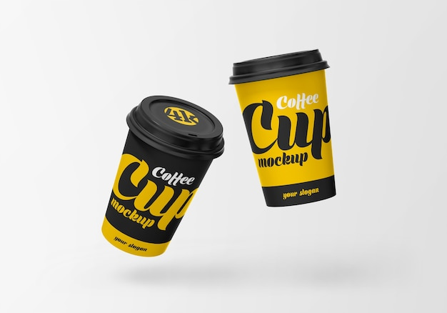 Latająca papierowa filiżanka kawy makieta