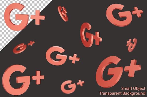 Latające logo mediów społecznościowych google w stylu 3d