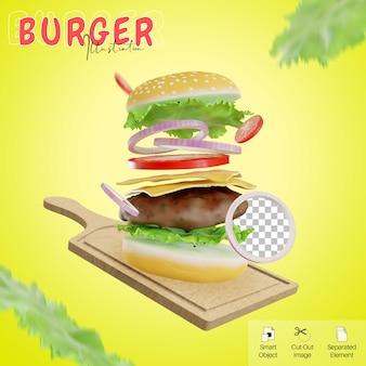 Latający burger na desce do krojenia ilustracja 3d z elementem sałaty dla szablonu mediów społecznościowych