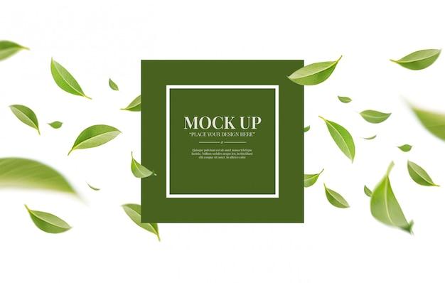 Latający kłębowisko zieleni liście odizolowywający na białym tle z kopii przestrzeni makieta szablonem
